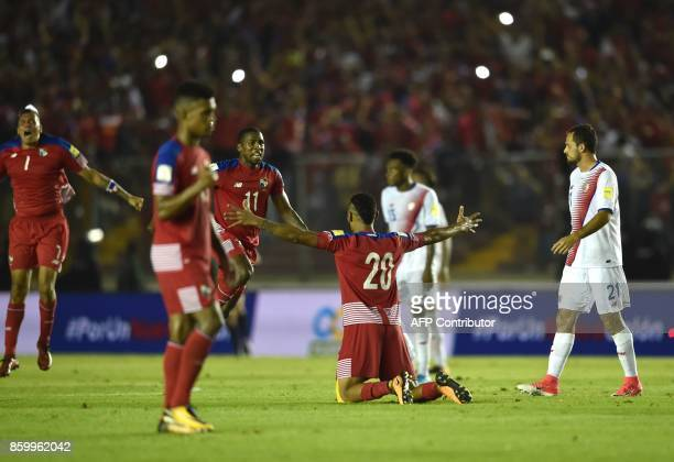 Panama player Anibal Godoy and teammates celebrate after qualifying for the World Cup for the first time ever in their qualifier football match Costa...