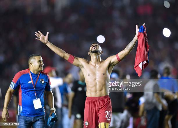 Panama player Anibal Godoy celebrates after Panama qualifes for the World Cup for the first time ever in their qualifier football match Costa Rica in...