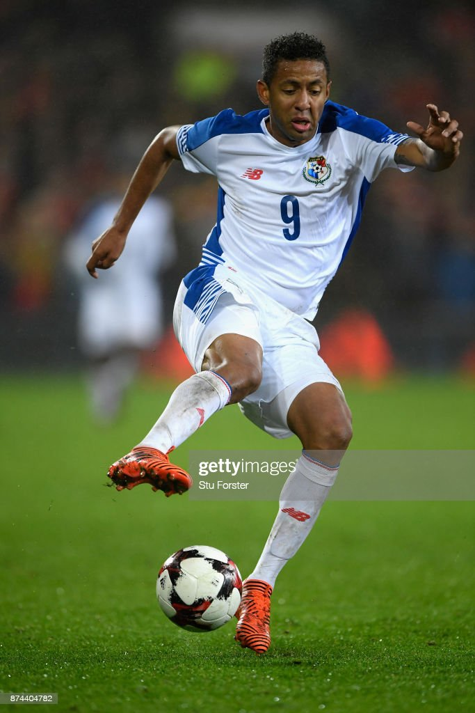 Panama player Gabriel Torres in action during the International Friendly match between Wales and Panama at Cardiff City Stadium on November 14, 2017 in Cardiff, Wales.