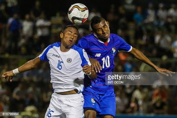 Panama player Josiel Nuñez fights for the ball with Maikel Montiel of the Nicaraguan national football team during a friendly football match at the...