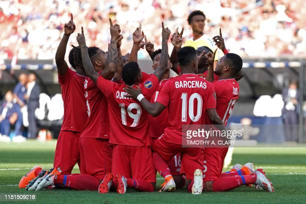 Panama players celebrate after scoring a penalty kick from Erick Davis against Guyana during their CONCACAF Gold Cup group stage match at First...