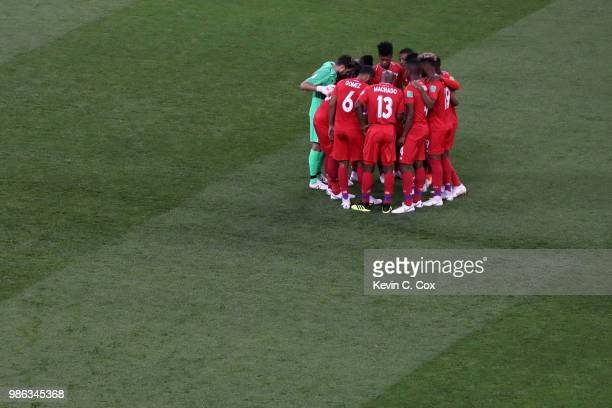 Panama players form a huddle prior to the 2018 FIFA World Cup Russia group G match between Panama and Tunisia at Mordovia Arena on June 28 2018 in...