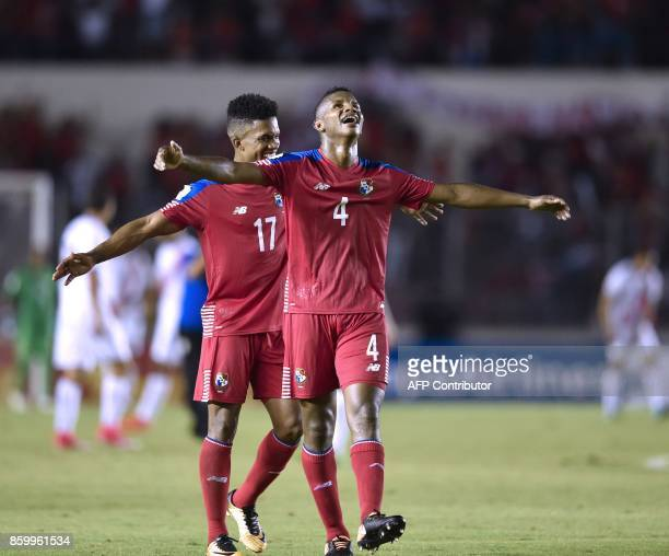 Panama players Luis Ovalle and Fidel Escobar celebrate after Panama qualifes for the World Cup for the first time ever in their qualifier football...