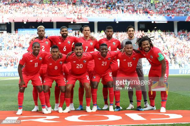 Panama players pose for a team photo prior to the 2018 FIFA World Cup Russia group G match between England and Panama at Nizhny Novgorod Stadium on...