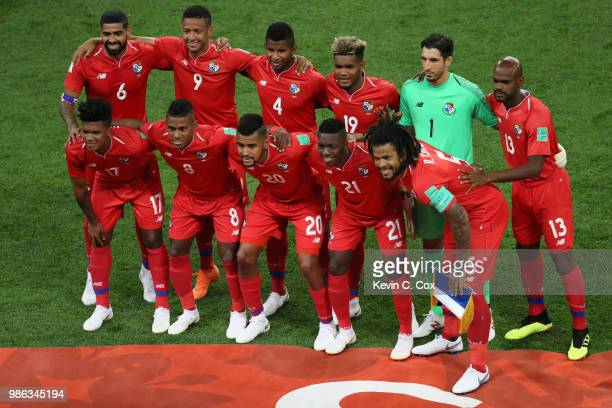 Panama pose prior to the 2018 FIFA World Cup Russia group G match between Panama and Tunisia at Mordovia Arena on June 28 2018 in Saransk Russia