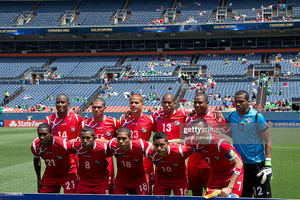Panama poses on the pitch before taking on Canada in a CONCACAF Gold Cup match at Sports Authority Field at Mile High on July 14, 2013 in Denver, Colorado.
