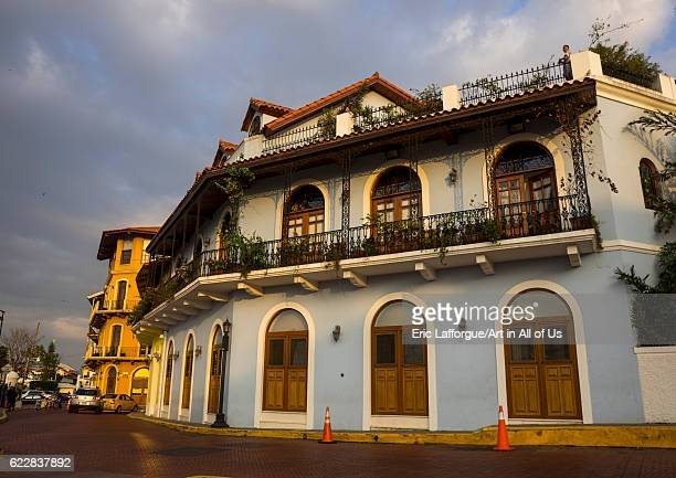 Panama, Province of Panama, Panama city, Beautiful spanish colonial house with wrought iron and plants of the old district in Casco Viejo on April...