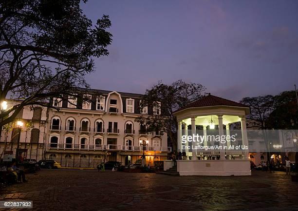 Panama, Province of Panama, Panama city, Independance plaza in old city Casco Viejo at night on April 19, 2015 in Panama City, Panama.