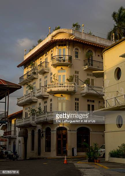 Panama, Province of Panama, Panama city, Nice facades and balconies of the old district in Casco Viejo on April 19, 2015 in Panama City, Panama.