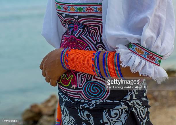 Panama San blas islands Mamitupu A Kuna indian woman wearing beads decoration on her arm on April 17 2015 in Mamitupu Panama