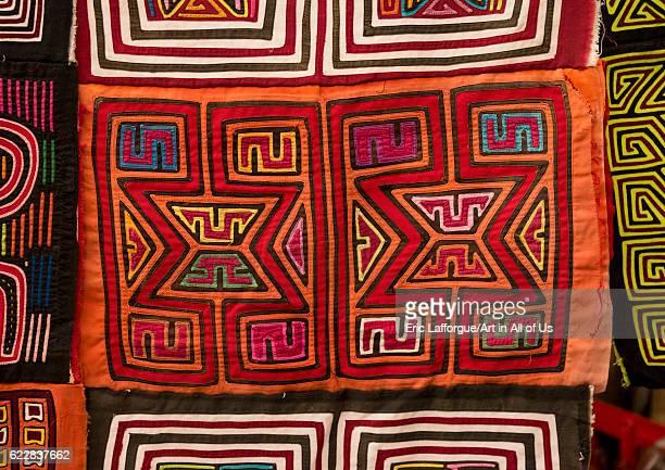 Panama San blas islands Mamitupu Colorful hand stitched Kuna indian mola on April 16 2015 in Mamitupu Panama