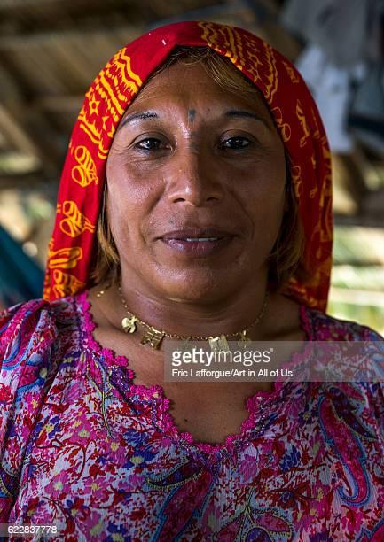 Panama San blas islands Mamitupu Gay Kuna indigenous man wearing female traditional clothes on April 17 2015 in Mamitupu Panama