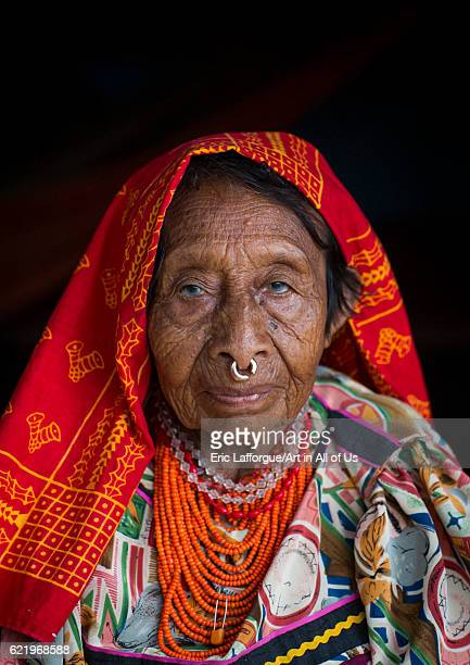 Panama San blas islands Mamitupu Portrait of an old Kuna tribe woman on April 16 2015 in Mamitupu Panama