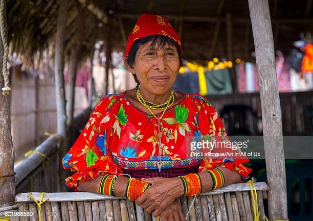 Panama, San blas islands, Mamitupu, Portrait of Kuna tribe woman on April 15, 2015 in Mamitupu, Panama.