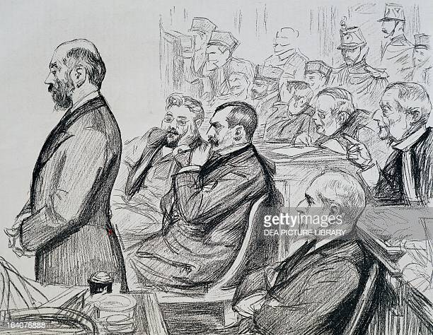 Panama scandal Paris trials of the accused Charles de Lesseps Gustave Eiffel Henry Cottu and Marius Fontane 1893 Drawing by Paul Renouard France 19th...
