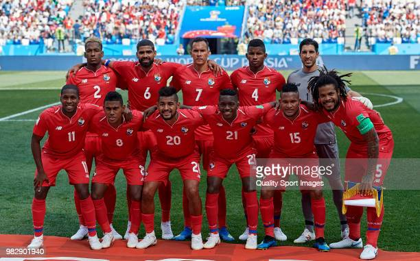 Panama team line up prior the 2018 FIFA World Cup Russia group G match between England and Panama at Nizhny Novgorod Stadium on June 24 2018 in...