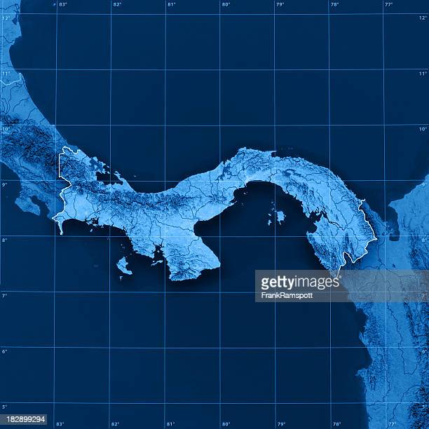panama topographic map - frank ramspott stock pictures, royalty-free photos & images