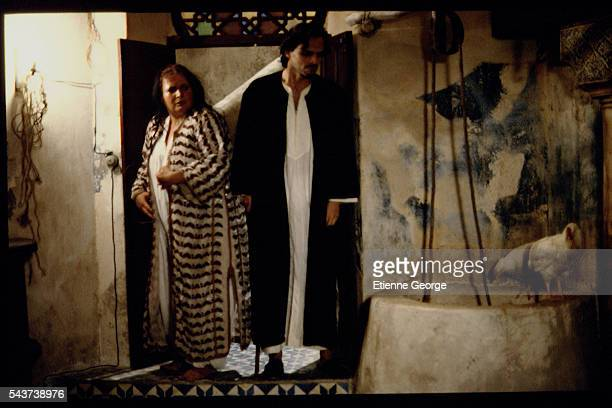 Panamanian actor Miguel Bos and X on the set of 'La Nuit sacre' directed by Nicolas Klotz based on the Tahar Ben Jelloun novel of the same name