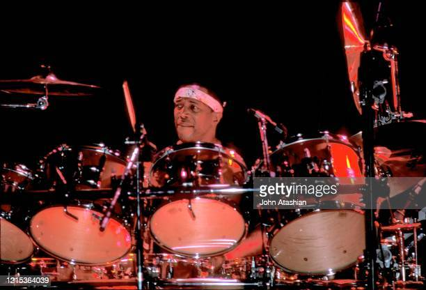 "Panamanian American jazz drummer, composer and bandleader, Billy Cobham is shown performing during a ""live"" concert appearance on August 1, 1984."