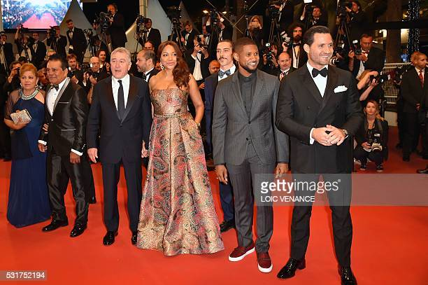 Panamanian boxer Roberto Duran and his wife Felicidad US actor Robert de Niro and his wife Grace Hightower US actor Usher and Venezuelan actor Edgar...