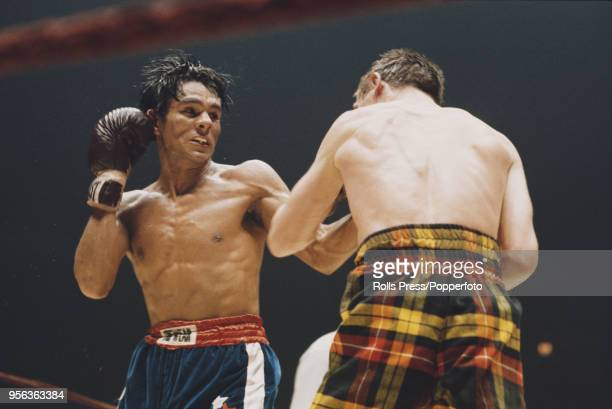 Panamanian boxer Roberto Duran pictured in action against British WBA Lightweight champion Ken Buchanan at Madison Square Garden in New York on 26th...