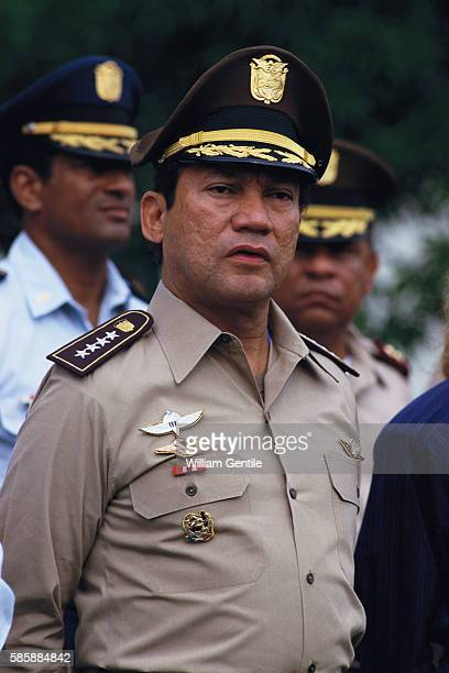 Panamanian dictator Manuel Noriega at a ceremony commemorating the death of the national hero Omar Torrijo in Panama City