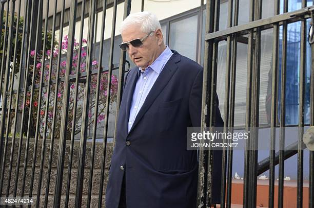 Panamanian former president and deputy of the Central American Parliament Ricardo Martinelli leaves after a parliament's plenary session in Guatemala...