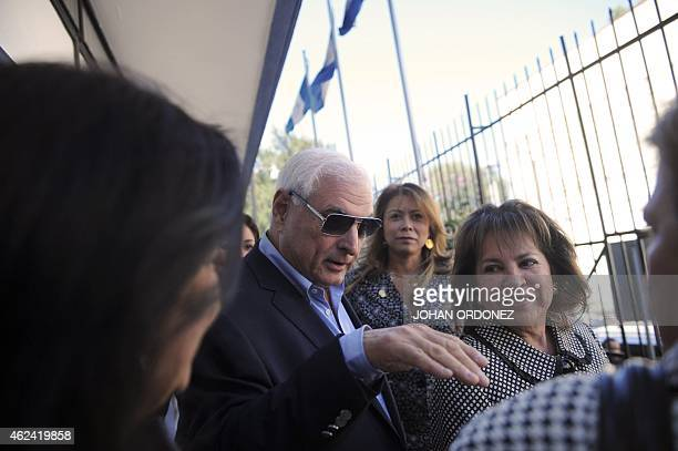 Panamanian former president and deputy of the Central American Parliament Ricardo Martinelli leaves the Parlacen building after a meeting in...