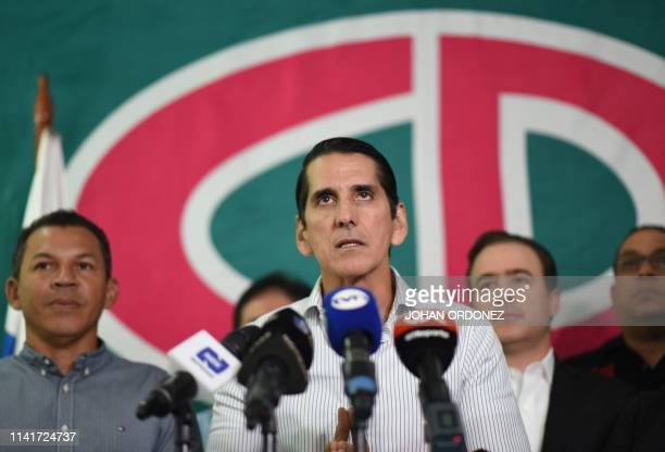 Panamanian presidential candidate for the Cambio Democratico party Romulo Roux delivers a press conference in Panama City on May 6 2019 Panama's...