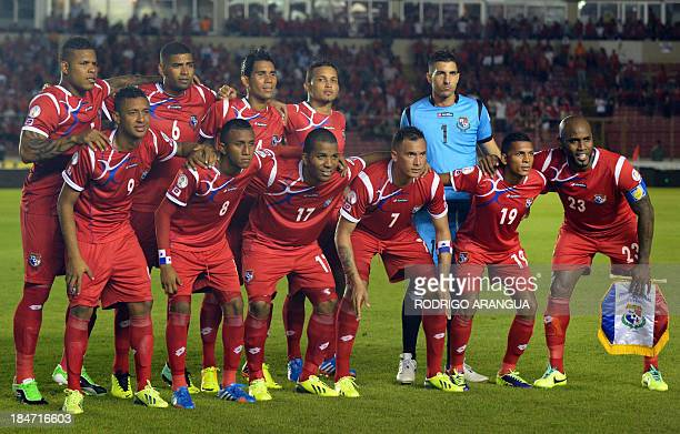 Panamanian team pose before their Brazil 2014 FIFA World Cup qualifier match against the United States at the Rommel Fernandez stadium in Panama city...