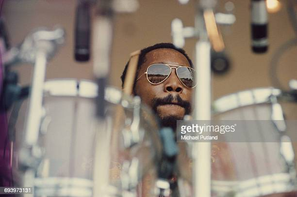 Panamanian-American jazz drummer Billy Cobham performing at Crystal Palace Garden Party, London, 7th June 1975.