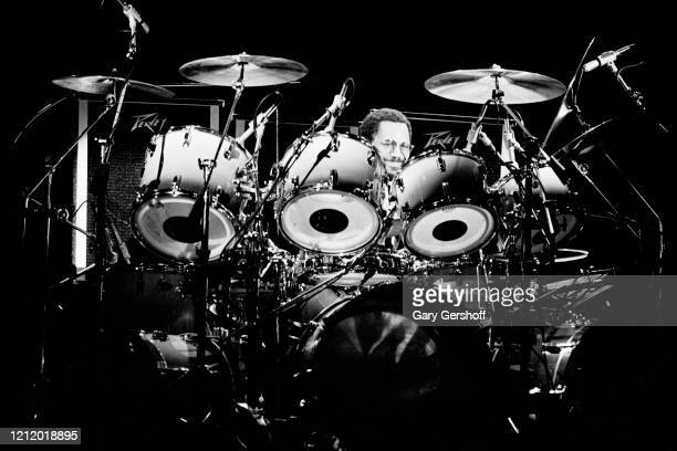 Panamanian-born American Jazz and Rock musician Billy Cobham plays drums as he performs onstage during the 'Jack Bruce & Friends' tour at the...