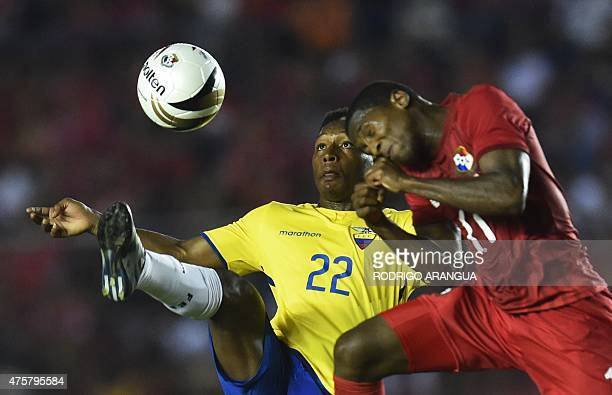 Panama's Armando Cooper and Ecuador's Jonathan Gonzalez vie for the ball during a friendly football match at the Rommel Fernandez stadium in Panama...
