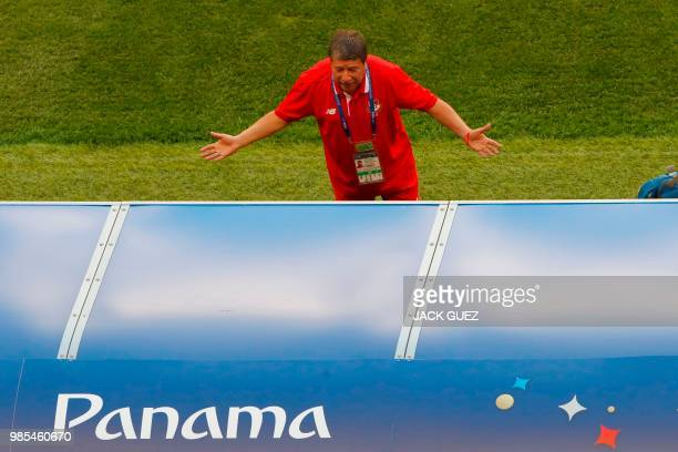 Panama's coach Hernan Dario Gomez gestures during a training session at the Mordovia Arena in Saransk on June 27 on the eve of the Russia 2018 World...