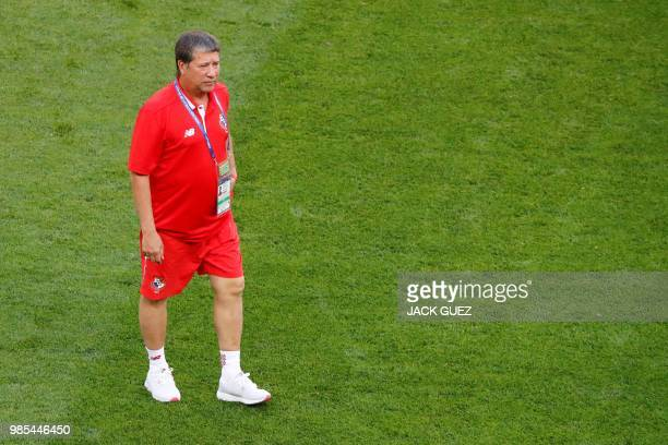 Panama's coach Hernan Dario Gomez walks on the pitch during a training session at the Mordovia Arena in Saransk on June 27 on the eve of the Russia...