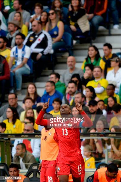 Panama's defender Adolfo Machado celebrates after scoring a goal during an international friendly football match between Brazil and Panama at the...