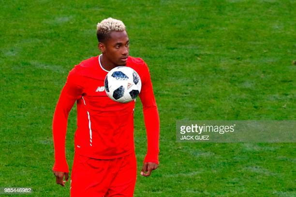 Panama's defender Michael Murillo controls a ball during a training session at the Mordovia Arena in Saransk on June 27 on the eve of the Russia 2018...