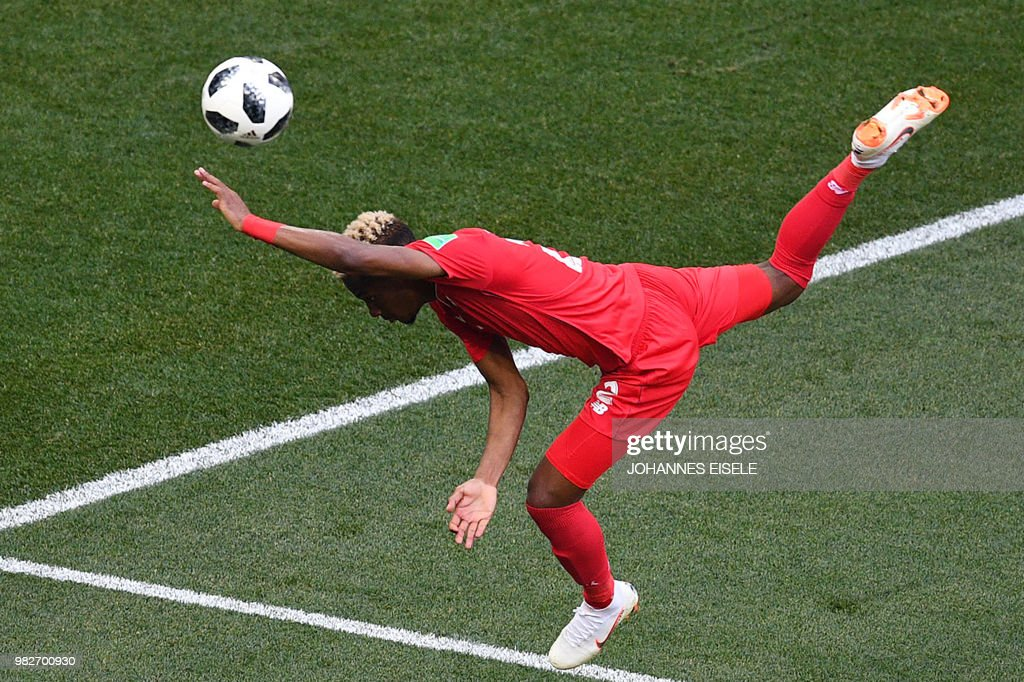 TOPSHOT - Panama's defender Michael Murillo falls during the Russia 2018 World Cup Group G football match between England and Panama at the Nizhny Novgorod Stadium in Nizhny Novgorod on June 24, 2018. (Photo by Johannes EISELE / AFP) / RESTRICTED