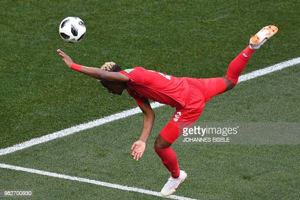 TOPSHOT Panama's defender Michael Murillo falls during the Russia 2018 World Cup Group G football match between England and Panama at the Nizhny...