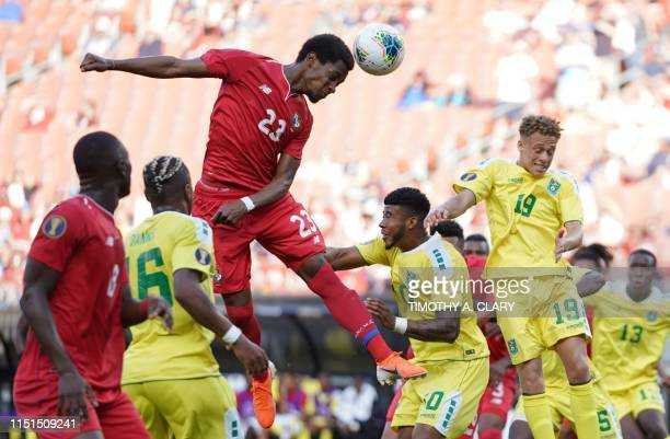 Panama's defender Michael Murillo jumps for a header during their CONCACAF Gold Cup group stage football match against Guyana at First Energy Stadium...