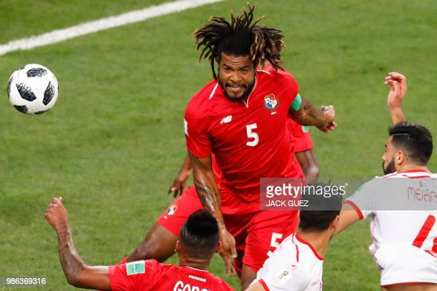 Panama's defender Roman Torres heads the ball during the Russia 2018 World Cup Group G football match between Panama and Tunisia at the Mordovia...