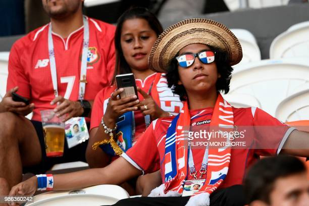 A Panama's fan relaxes before the Russia 2018 World Cup Group G football match between Panama and Tunisia at the Mordovia Arena in Saransk on June 28...