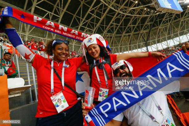 Panama's fans cheer before the Russia 2018 World Cup Group G football match between Panama and Tunisia at the Mordovia Arena in Saransk on June 28...