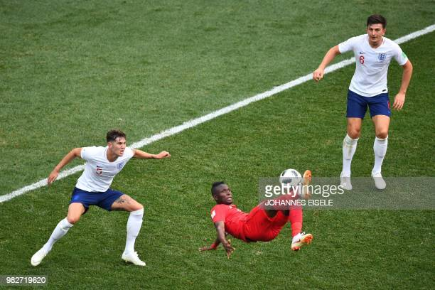 Panama's forward Abdiel Arroyo kicks the ball during the Russia 2018 World Cup Group G football match between England and Panama at the Nizhny...