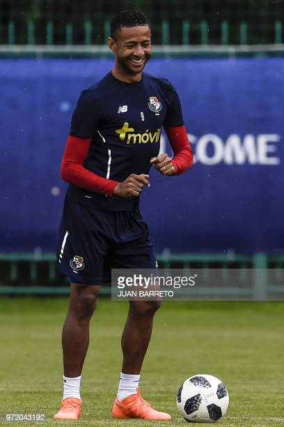 Panama's forward Gabriel Torres dances next to the ball as he takes part in a training session of the Panama's national football team in Saransk on...
