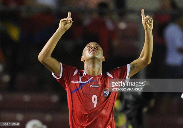 Panama's Gabriel Torres celebrates after scoring against the USA during their Brazil 2014 FIFA World Cup Concacaf qualifier match on October 15 at...