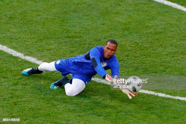 Panama's goalkeeper Alex Rodriguez dives for a ball during a training session at the Mordovia Arena in Saransk on June 27 on the eve of the Russia...
