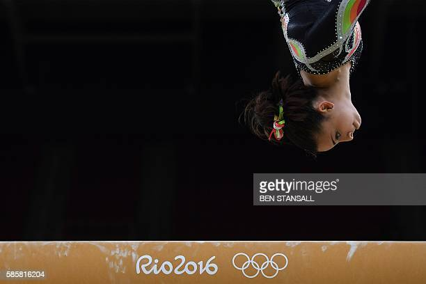 Panama's Isabella Amado practices on the balance beam of the women's Artistic gymnastics on August 4, 2016 ahead of the Rio 2016 Olympic Games in Rio...