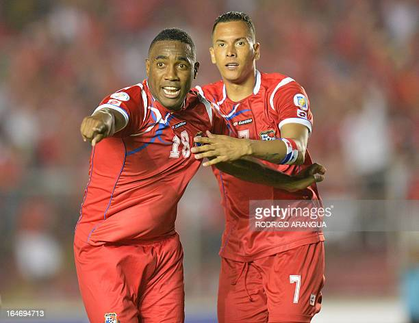 Panama's Luis Tejada celebrate with teammate Blas Perez after scoring against Honduras during their FIFA World Cup Brazil 2014 qualifier football...