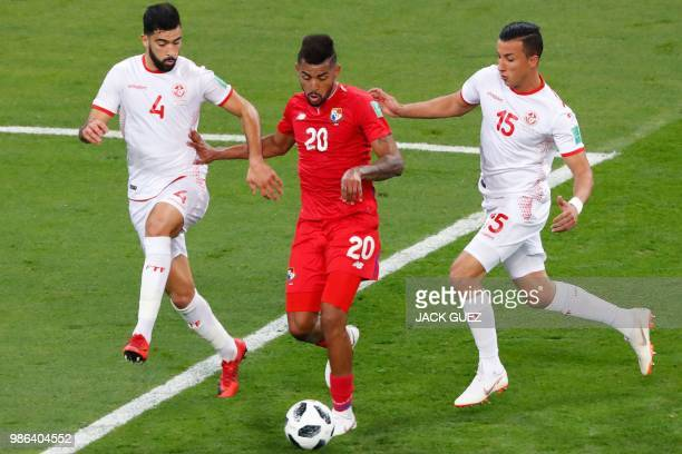 Panama's midfielder Anibal Godoy vies with Tunisia's defender Yassin Meriah and Tunisia's midfielder Ahmed Khalil during the Russia 2018 World Cup...
